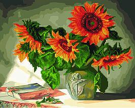 Алмазна картина-розмальовка Натюрморт з соняшниками 40x50 см. Rainbow Art