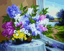 Алмазная картина раскраска Сирень на столике 40*50 см. Rainbow Art