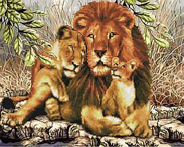Алмазна картина-розмальовка Левове сімейство 40x50 см. Rainbow Art