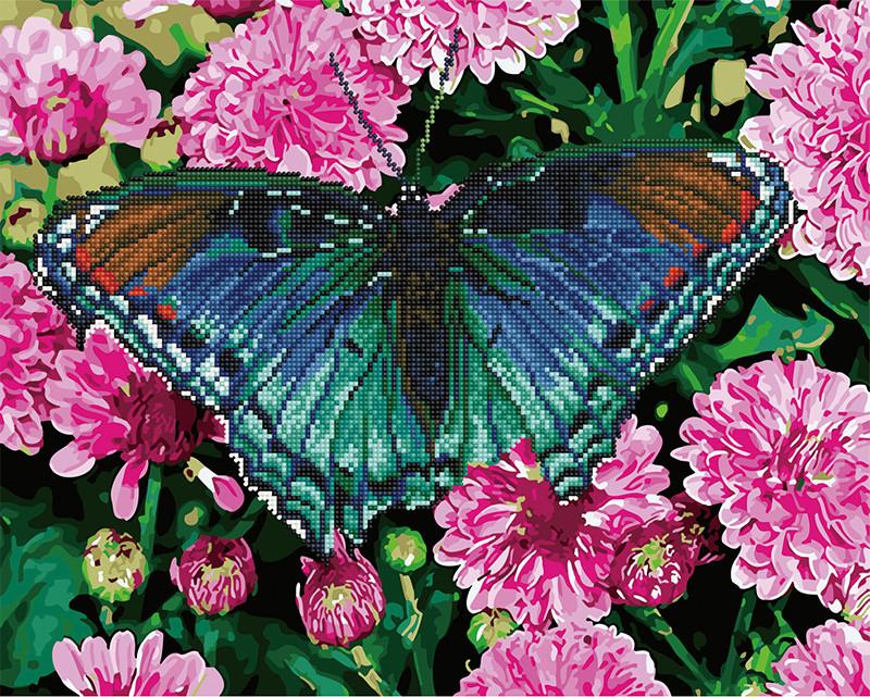 Алмазная картина раскраска Бабочка в цветах 40*50 см. Rainbow Art