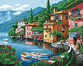 Алмазна картина-розмальовка Ранок на березі озера 40x50 см. Rainbow Art