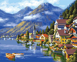 Алмазна картина-розмальовка Мальовнича Австрія 40x50 см. Rainbow Art