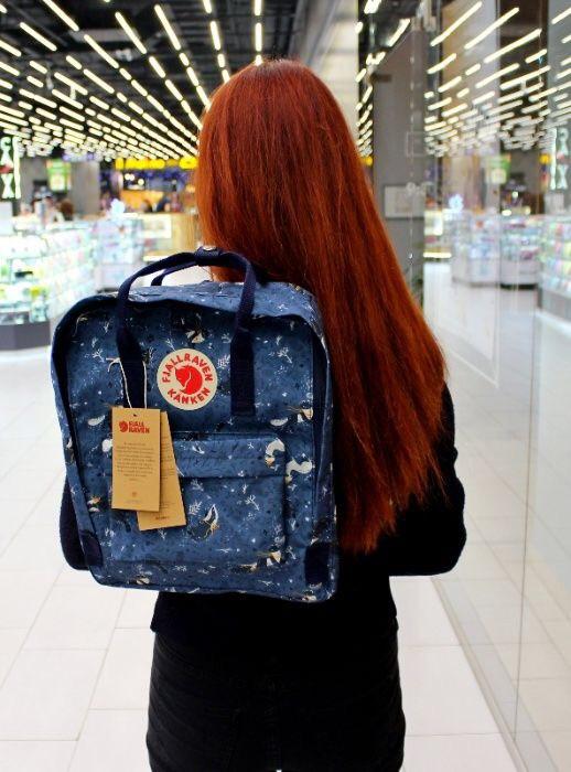 Модный женский рюкзак-сумка канкен синий с рисунками Fjallraven Kanken blue art classic 16 л