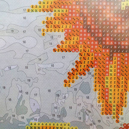 Алмазна картина-розмальовка Вовк і квітка 40x50 см. Rainbow Art, фото 2