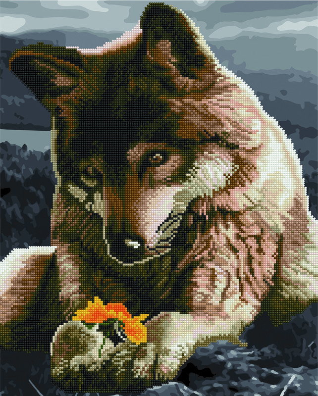 Алмазна картина-розмальовка Вовк і квітка 40x50 см. Rainbow Art