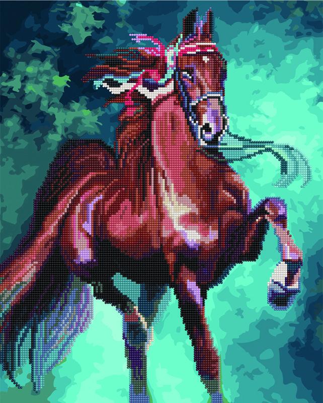 Алмазная картина раскраска Лошадь 40*50 см. Rainbow Art