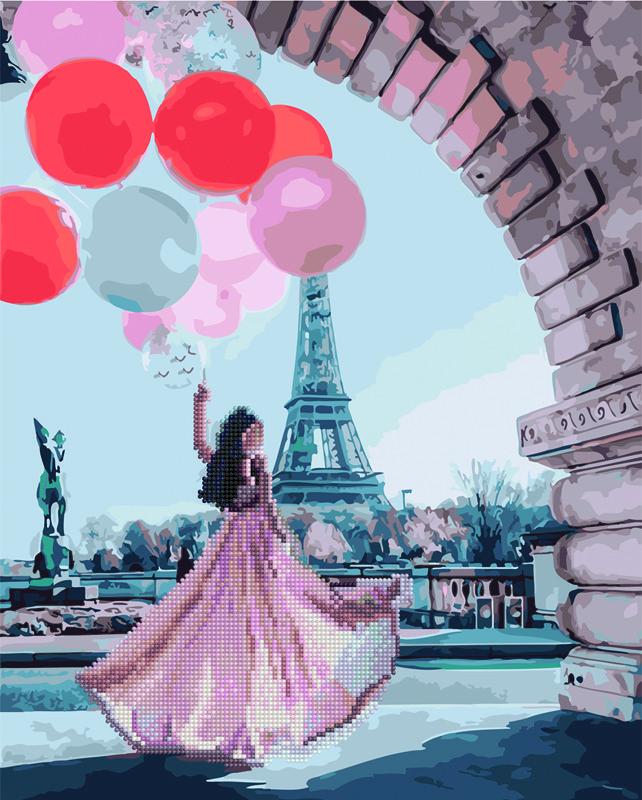 Алмазна картина-розмальовка Романтика Парижа 40x50 см. Rainbow Art