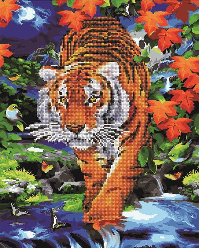 Алмазна картина-розмальовка Тигр на річці 40x50 см. Rainbow Art