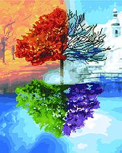 Алмазна картина-розмальовка Времена года 40x50 см. Rainbow Art