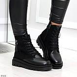 Стильные удобные демисезонные черные женские ботинки на каждый день, фото 3