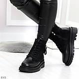 Стильные удобные демисезонные черные женские ботинки на каждый день, фото 4