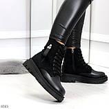 Стильные удобные демисезонные черные женские ботинки на каждый день, фото 5