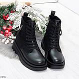 Стильные удобные демисезонные черные женские ботинки на каждый день, фото 6