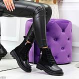Стильные удобные демисезонные черные женские ботинки на каждый день, фото 7