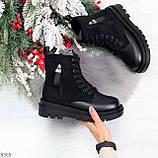 Стильные удобные демисезонные черные женские ботинки на каждый день, фото 8