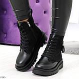 Стильные удобные демисезонные черные женские ботинки на каждый день, фото 9