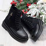 Стильные удобные демисезонные черные женские ботинки на каждый день, фото 10