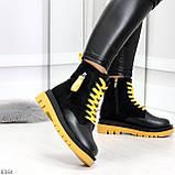 Стильные удобные демисезонные черные женские ботинки с желтым декором, фото 4