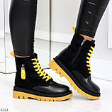 Стильные удобные демисезонные черные женские ботинки с желтым декором, фото 6