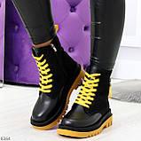 Стильные удобные демисезонные черные женские ботинки с желтым декором, фото 7