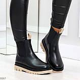 Стильные удобные демисезонные черные женские ботинки челси с бежевым декором, фото 3