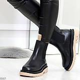 Стильные удобные демисезонные черные женские ботинки челси с бежевым декором, фото 4