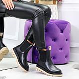 Стильные удобные демисезонные черные женские ботинки челси с бежевым декором, фото 5