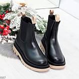 Стильные удобные демисезонные черные женские ботинки челси с бежевым декором, фото 6