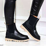 Стильные удобные демисезонные черные женские ботинки челси с бежевым декором, фото 7