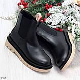 Стильные удобные демисезонные черные женские ботинки челси с бежевым декором, фото 9