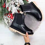Стильные удобные демисезонные черные женские ботинки челси с бежевым декором, фото 10