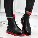 Стильные удобные демисезонные черные женские ботинки челси с красным декором, фото 6