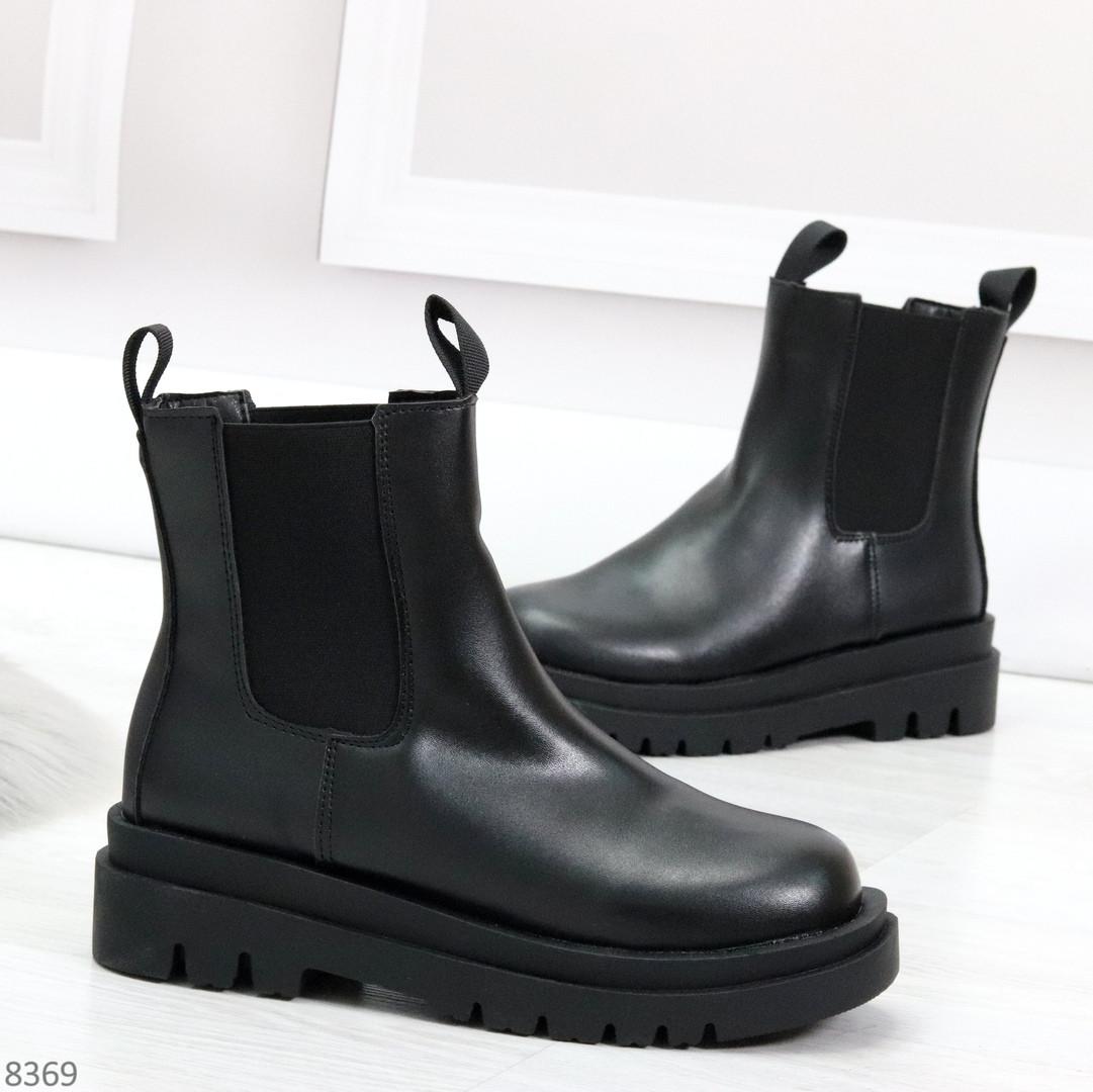 Стильные удобные демисезонные черные женские ботинки челси низкий ход