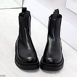 Стильные удобные демисезонные черные женские ботинки челси низкий ход, фото 3