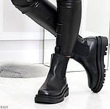 Стильные удобные демисезонные черные женские ботинки челси низкий ход, фото 5