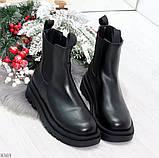 Стильные удобные демисезонные черные женские ботинки челси низкий ход, фото 6