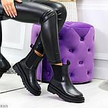 Стильные удобные демисезонные черные женские ботинки челси низкий ход, фото 7