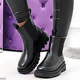 Стильные удобные демисезонные черные женские ботинки челси низкий ход, фото 8