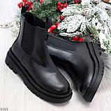 Стильные удобные демисезонные черные женские ботинки челси низкий ход, фото 9