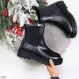Стильные удобные демисезонные черные женские ботинки челси низкий ход, фото 10