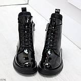 Модные практичные глянцевые черные женские ботинки на флисе с декором, фото 3