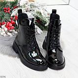 Модные практичные глянцевые черные женские ботинки на флисе с декором, фото 5