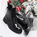 Модные практичные глянцевые черные женские ботинки на флисе с декором, фото 9