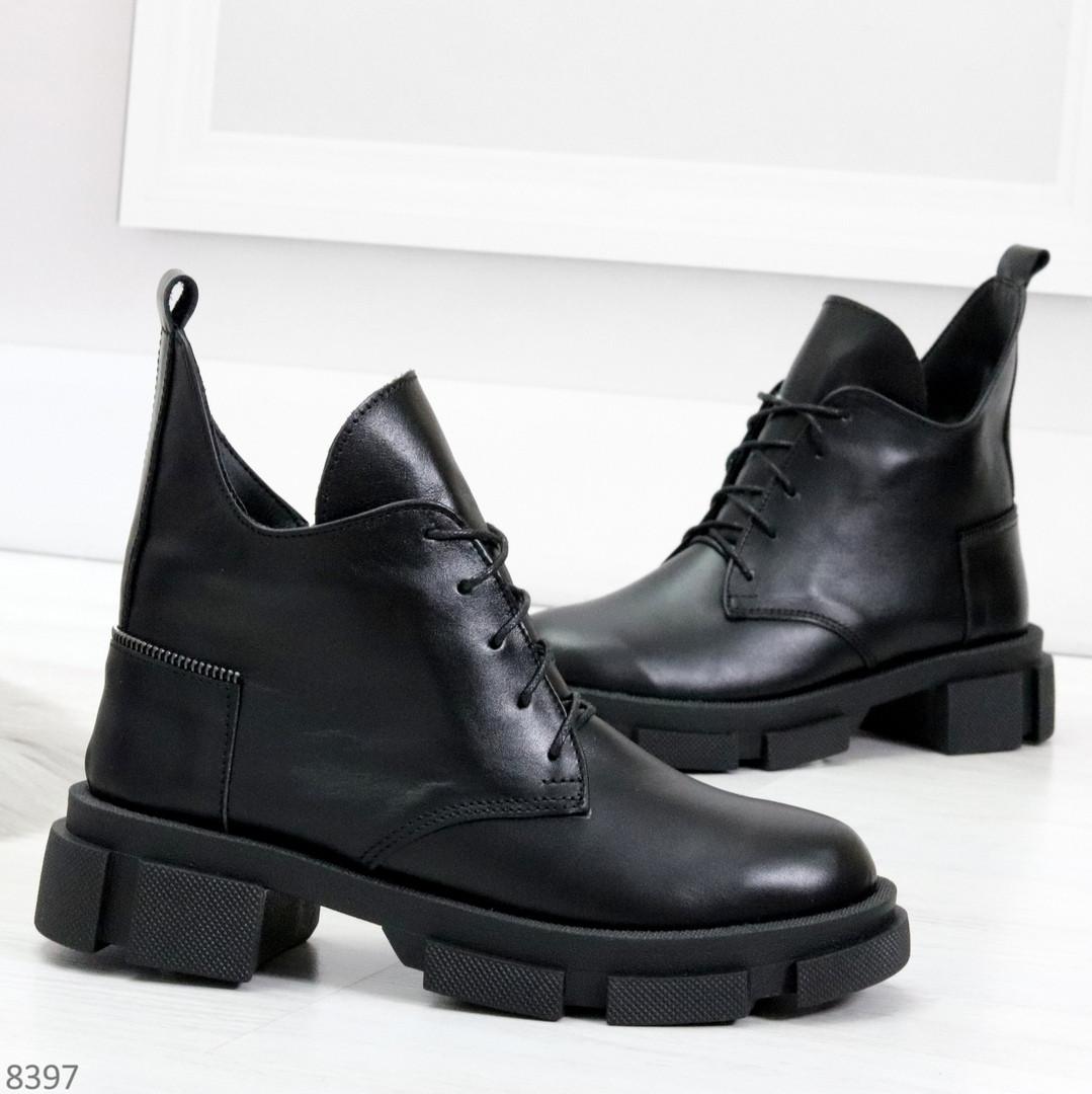 Мега стильные черные женские зимние ботинки туфли из натуральной кожи 38-24,5см