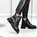 Мега стильные черные женские зимние ботинки туфли из натуральной кожи 38-24,5см, фото 2