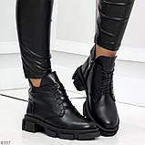 Мега стильные черные женские зимние ботинки туфли из натуральной кожи 38-24,5см, фото 3