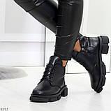 Мега стильные черные женские зимние ботинки туфли из натуральной кожи 38-24,5см, фото 4