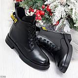 Мега стильные черные женские зимние ботинки туфли из натуральной кожи 38-24,5см, фото 8