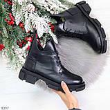 Мега стильные черные женские зимние ботинки туфли из натуральной кожи 38-24,5см, фото 9