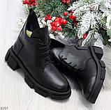 Мега стильные черные женские зимние ботинки туфли из натуральной кожи 38-24,5см, фото 10